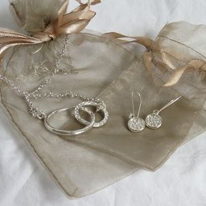 Silver and Diamond Necklace and Earring Set